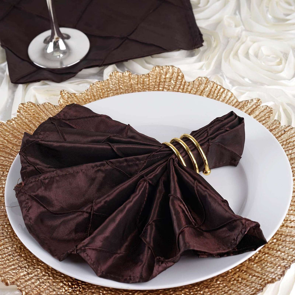 "5 PCS Wholesale Chocolate Pintuck Napkins For Wedding Birthday Party Tableware - 17""x17"""
