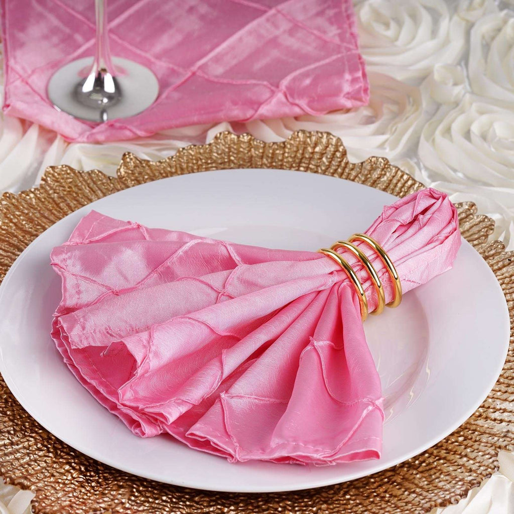 "5 PCS Wholesale Pink Pintuck Napkins For Wedding Birthday Party Tableware - 17""x17"""