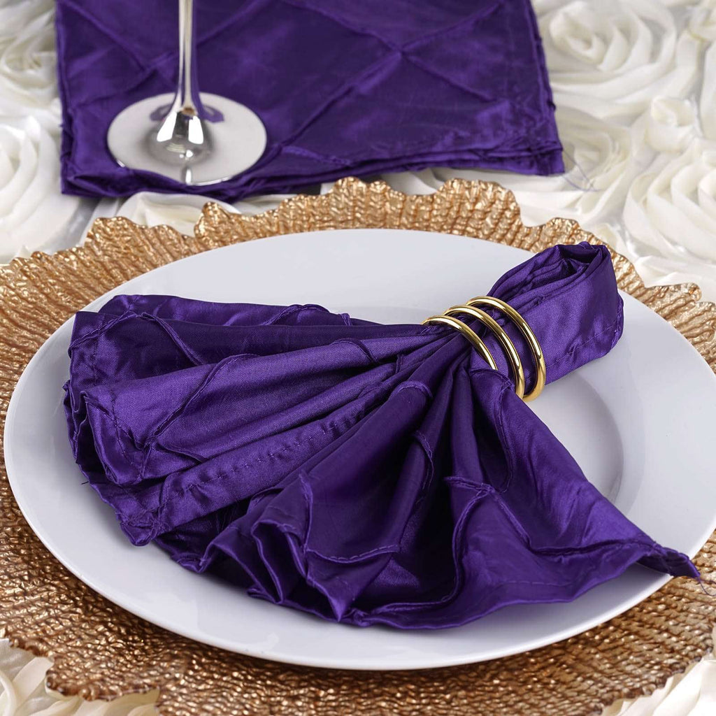 "5 PCS Wholesale Purple Pintuck Napkins For Wedding Birthday Party Tableware - 17""x17"""