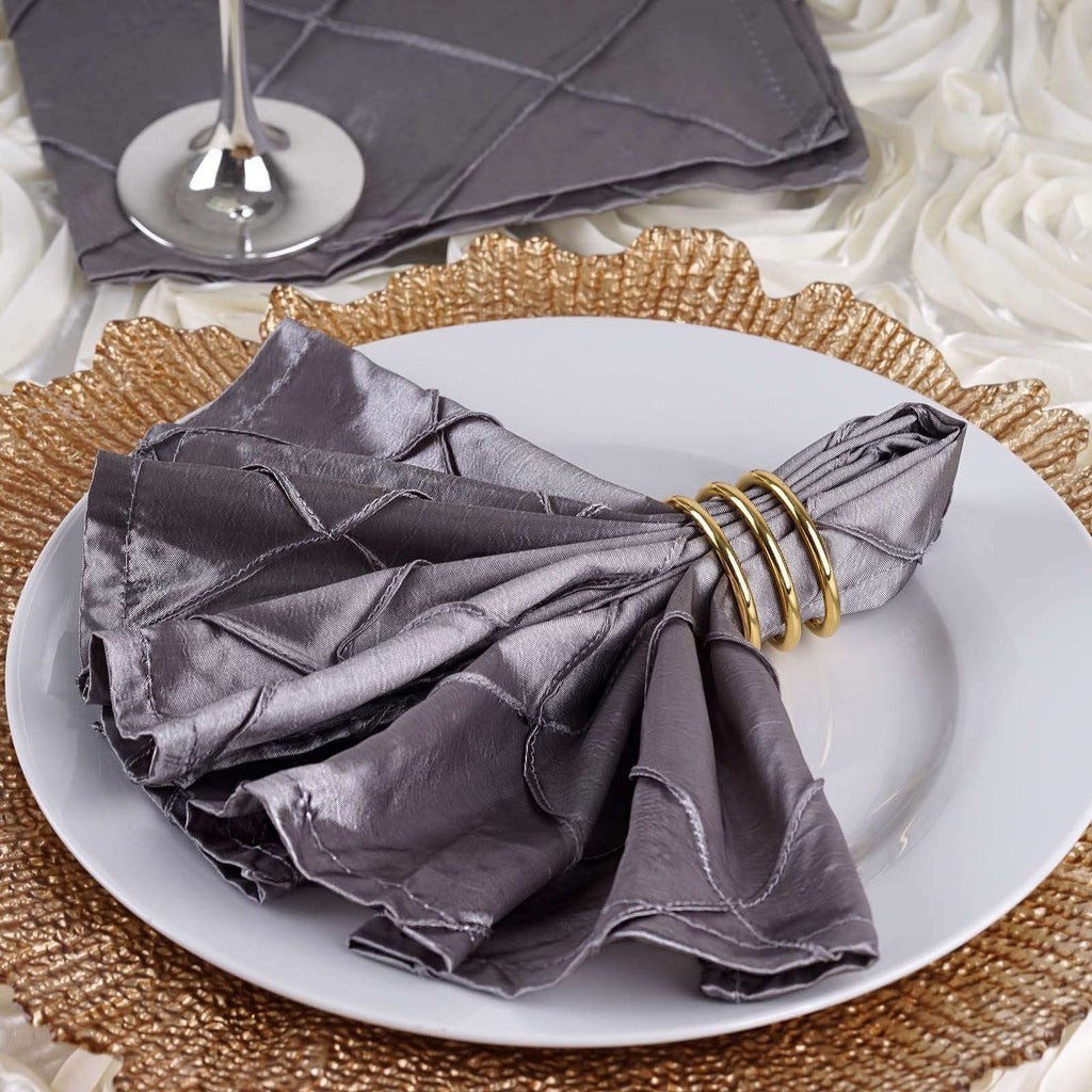 "5 PCS Wholesale Silver Pintuck Napkins For Wedding Birthday Party Tableware - 17""x17"""