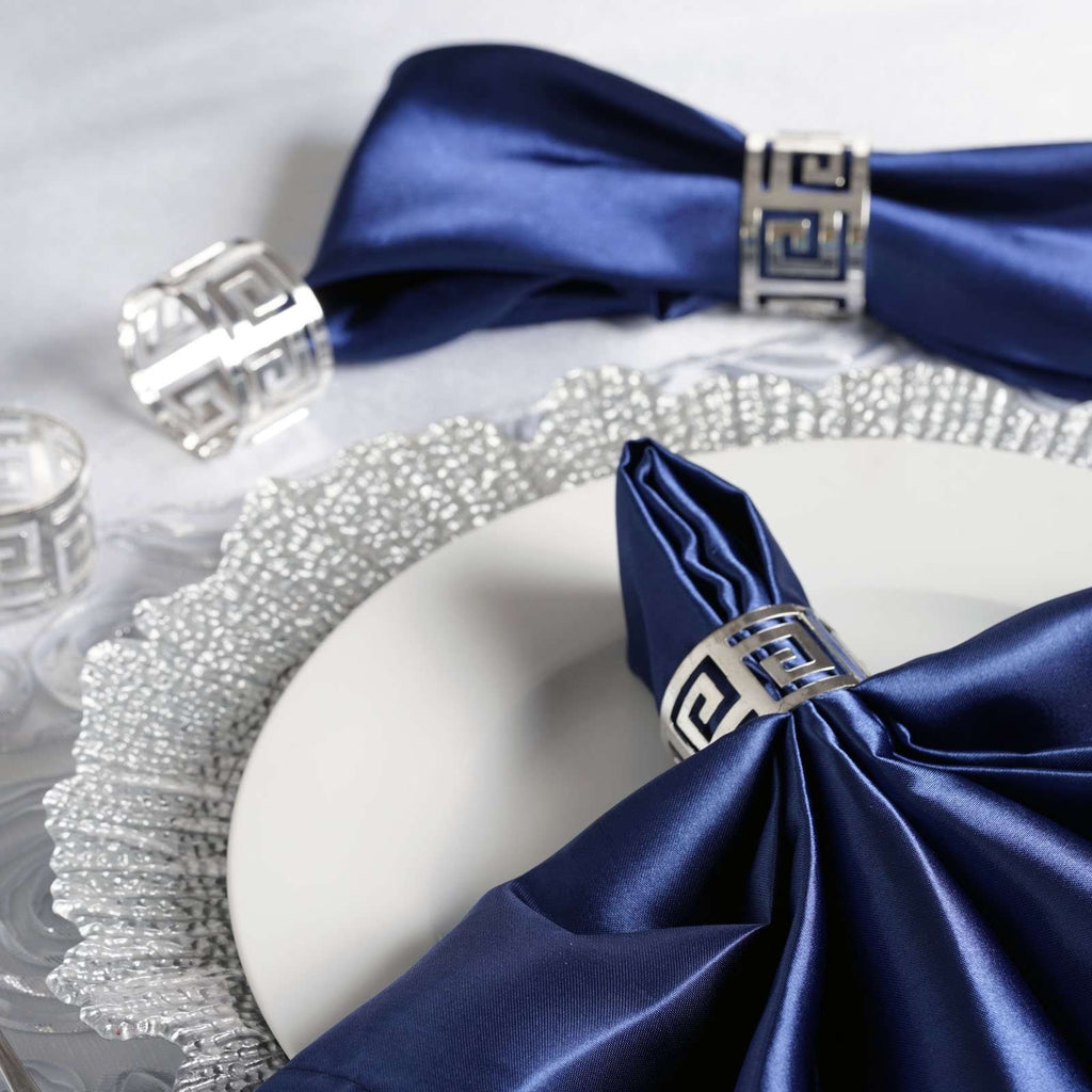 4 PCS Wholesale Silver Plated Aluminium Alluring Napkin Rings For Wedding Birthday Party Tableware