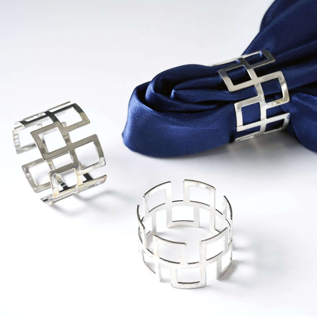 4 PCS Wholesale Silver Plated Aluminium Napkin Rings For Wedding Birthday Party Tableware