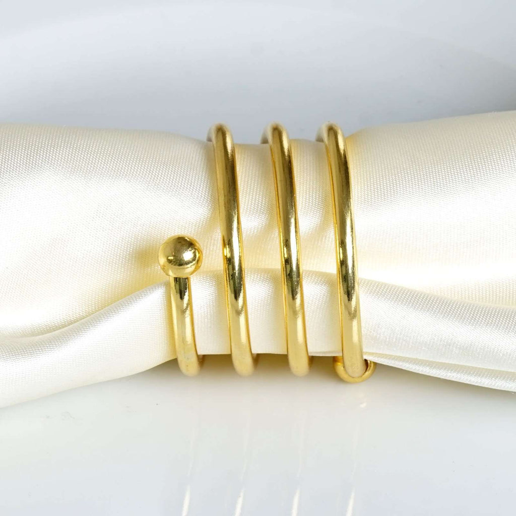 Enticing Gold Plated Aluminum Napkin Rings - 4/pk