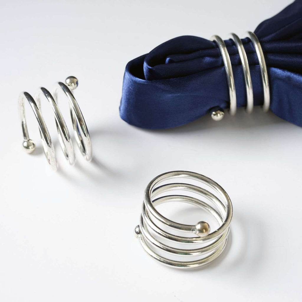 4 PCS Wholesale Silver Plated Aluminium Spiral Napkin Rings For Wedding Birthday Party Tableware