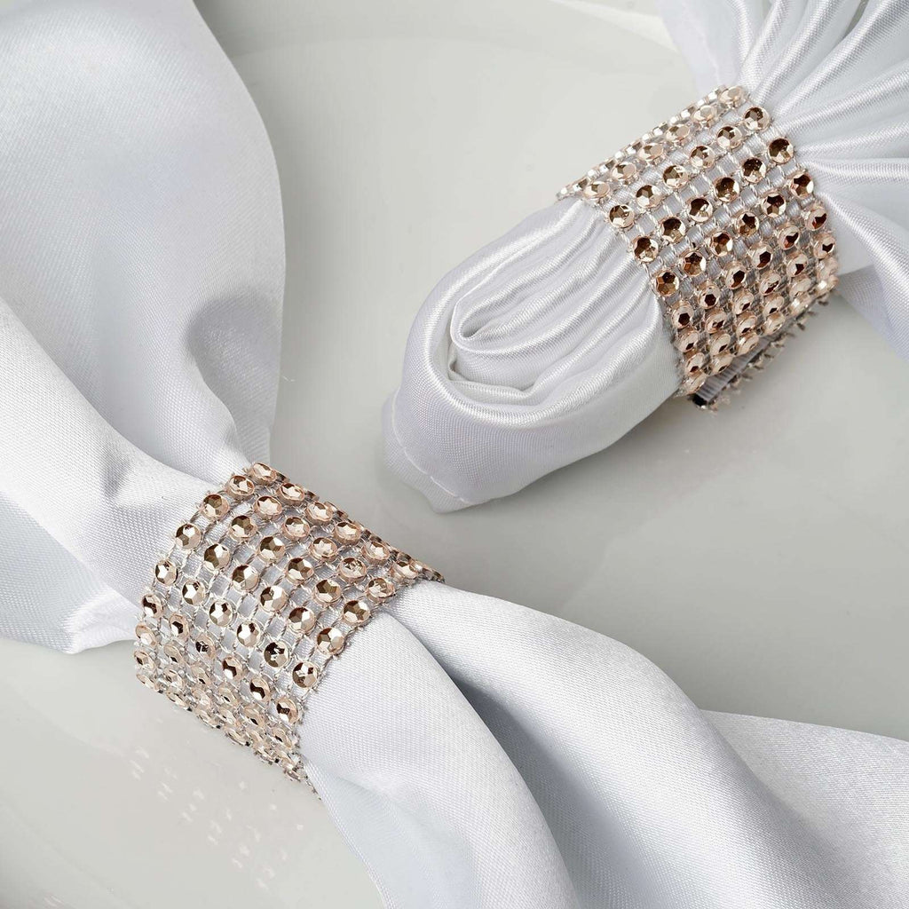 Wholesale Champagne Diamond Rhinestone Napkin Ring With Velcro For Wedding Party Banquet Table Decoration - Set of 10