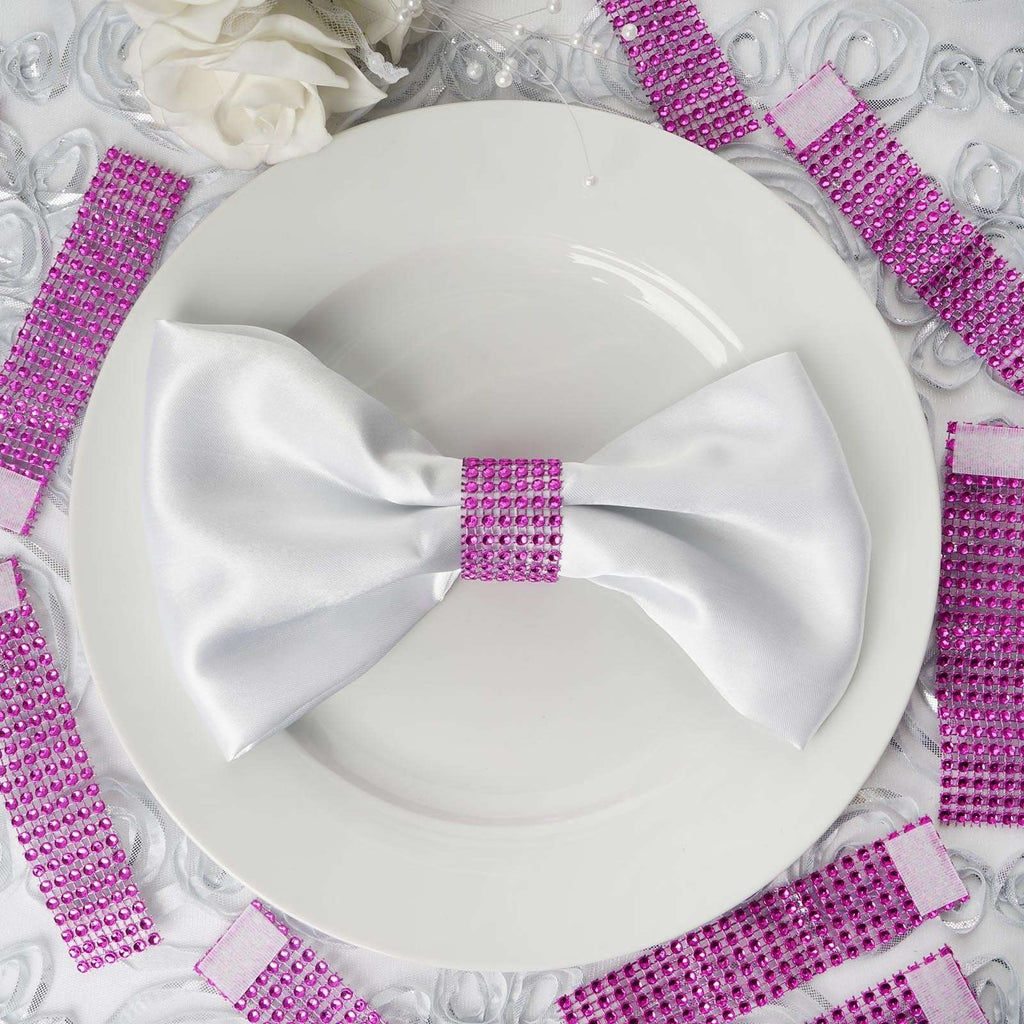 Wholesale Fushia Diamond Rhinestone Napkin Ring With Velcro For Wedding Party Banquet Table Decoration - Set of 10