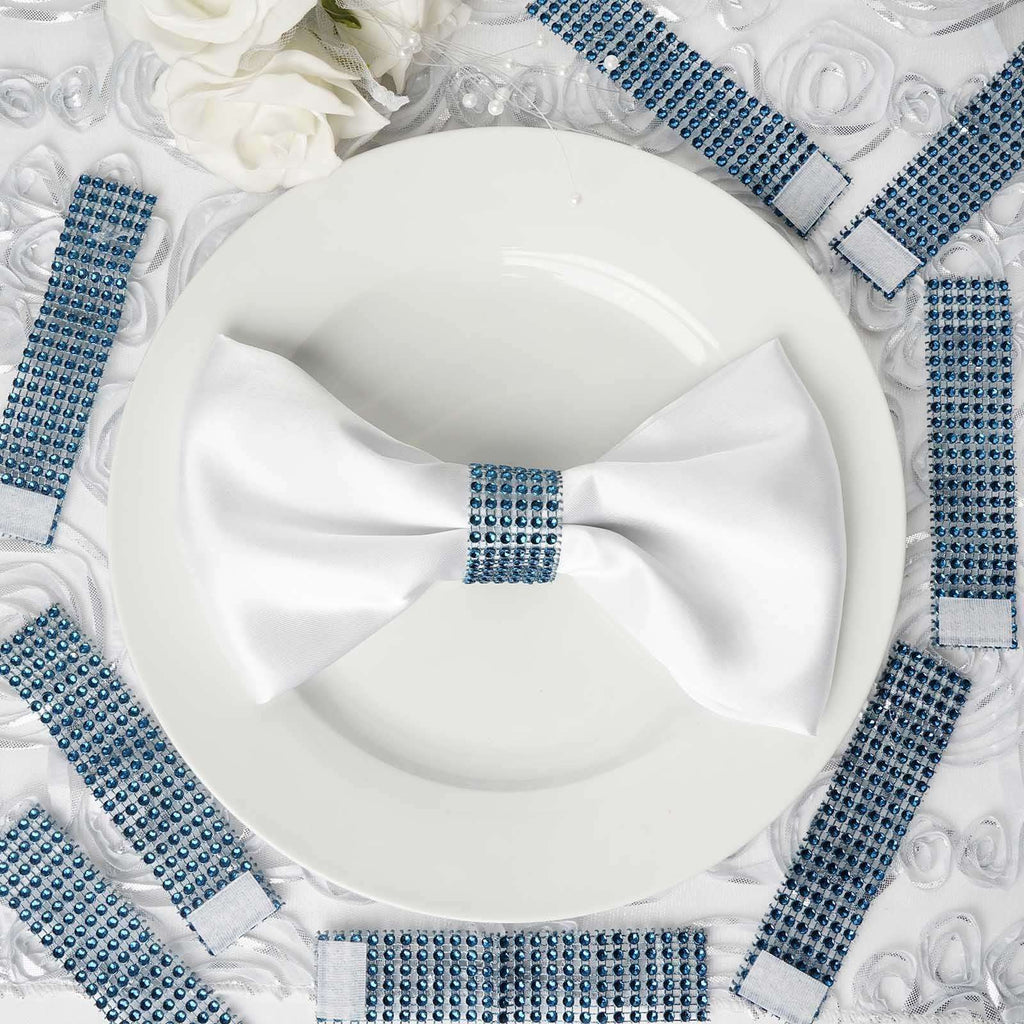 Wholesale Navy Blue Diamond Rhinestone Napkin Ring With Velcro For Wedding Party Banquet Table Decoration - Set of 10