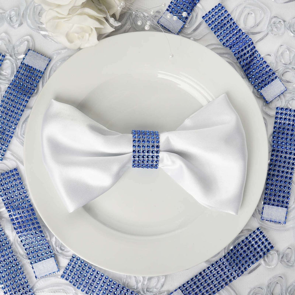 Wholesale Royal Blue Diamond Rhinestone Napkin Ring With Velcro For Wedding Party Banquet Table Decoration - Set of 10
