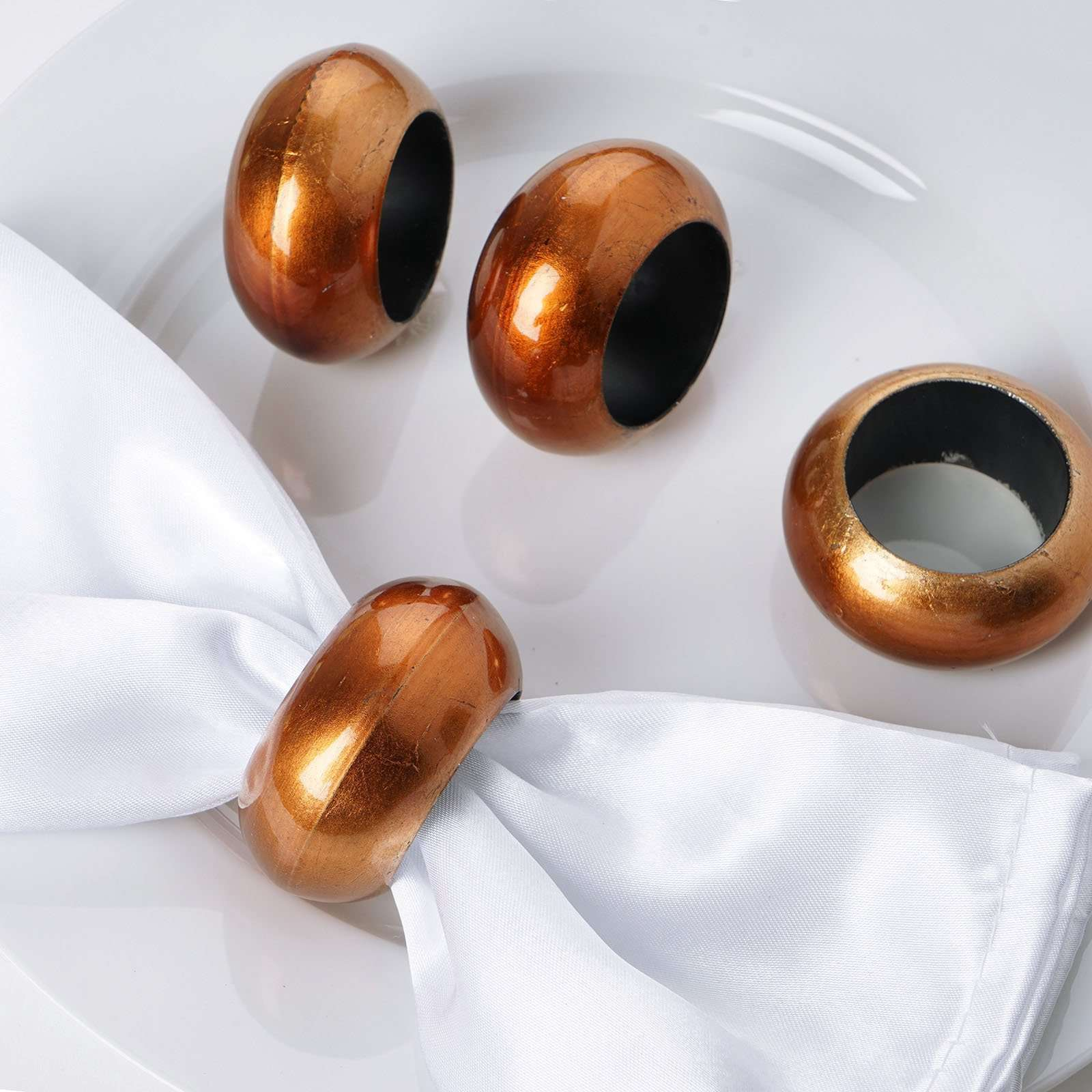 4 Pcs Wholesale Copper Acrylic Napkin Rings For Wedding Birthday Party Chaircoverfactory