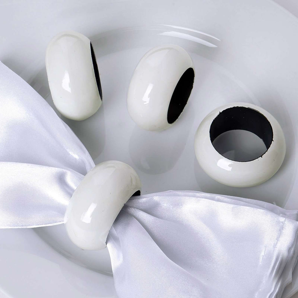 4 PCS Wholesale Light Ivory Acrylic Napkin Rings For Wedding Birthday Party Tableware
