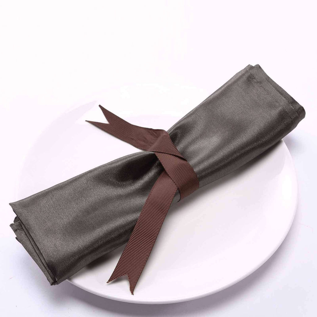"5 Pack 20""x 20"" Charcoal Gray Satin Linen Napkins"