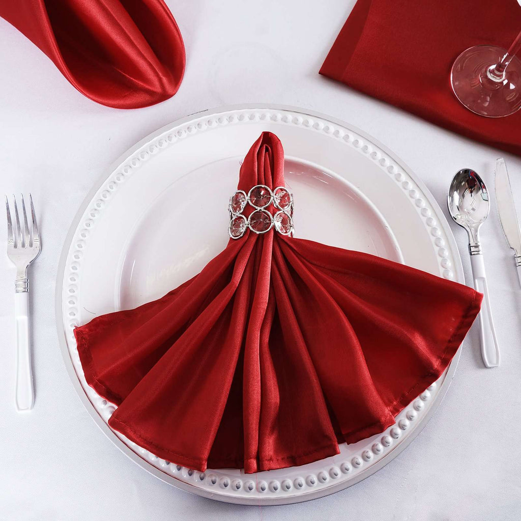 "5 Pack 20""x 20"" Wine Satin Linen Napkins"