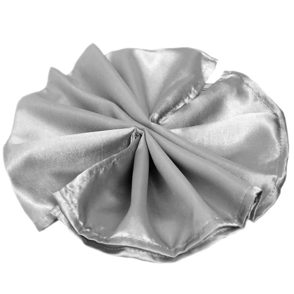 "20""x20"" Silver Wholesale SATIN Linen Napkins For Wedding Birthday Party Tableware - 5 PCS"