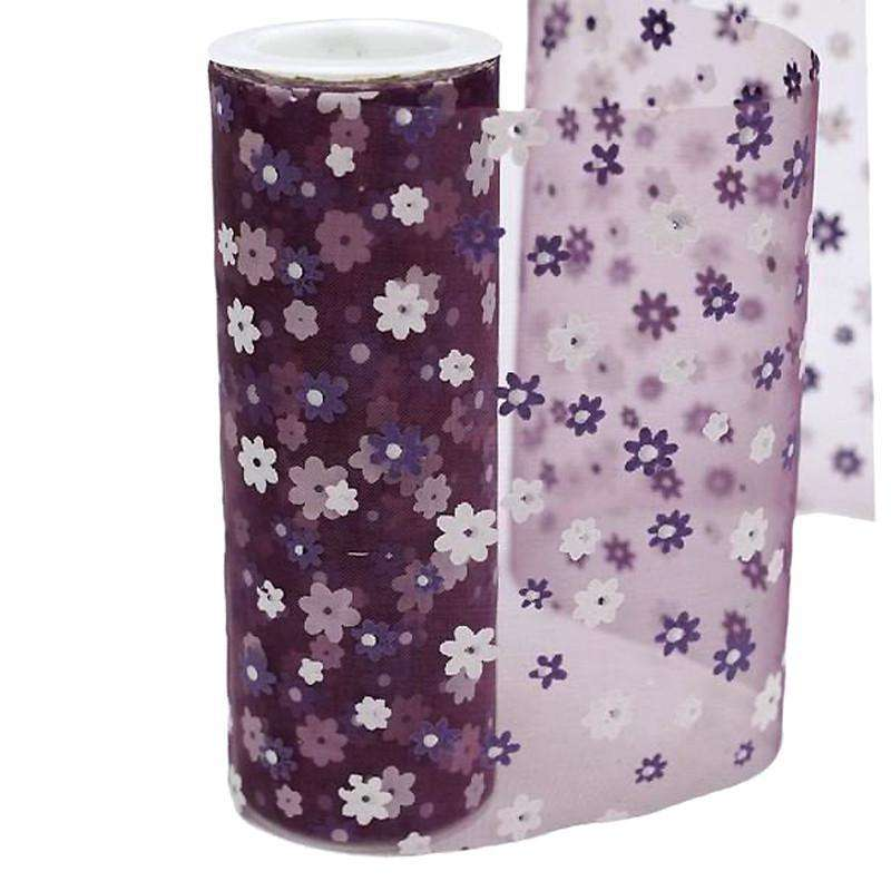 "EGGPLANT Sheer Nylon Organza Flower Printed Wedding Party Decorative Fabric Bolt - 6"" x 10 Yards"