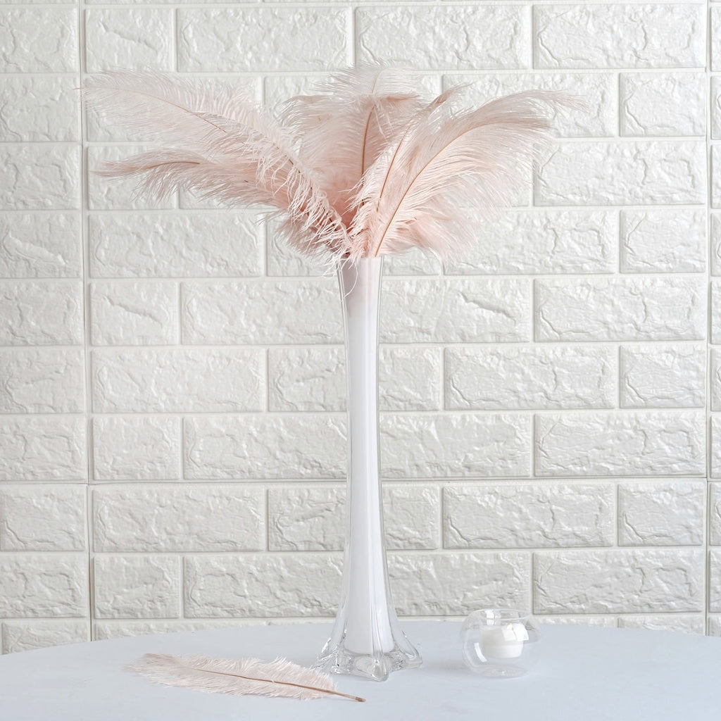 "12 Pack | 13""-15"" Dusty Rose Natural Plume Ostrich Feathers Centerpiece"