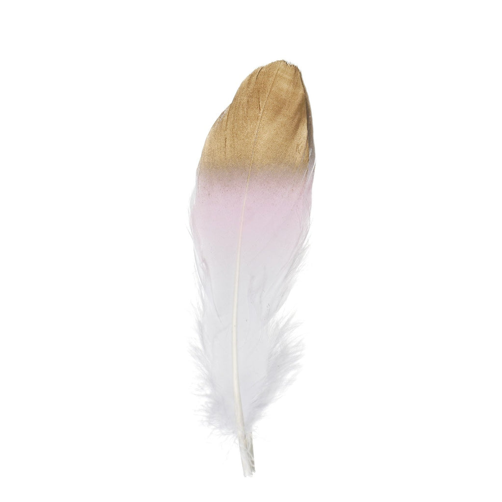 30 Pack | Metallic Gold Tip Dual Tone Real Goose Feathers | Craft Feathers for Party Decoration | Blush / White