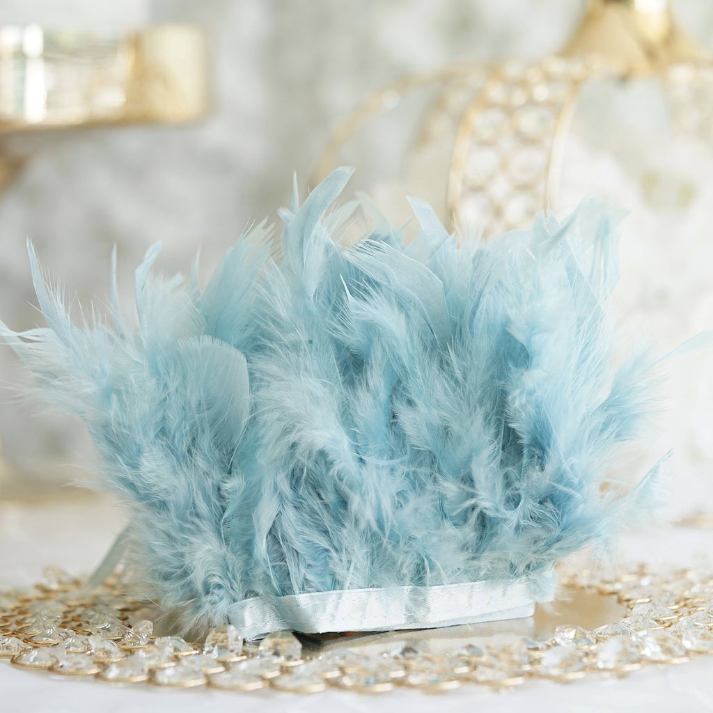 "39"" Blue Real Turkey Feather Fringe Trims With Satin Ribbon Tape"