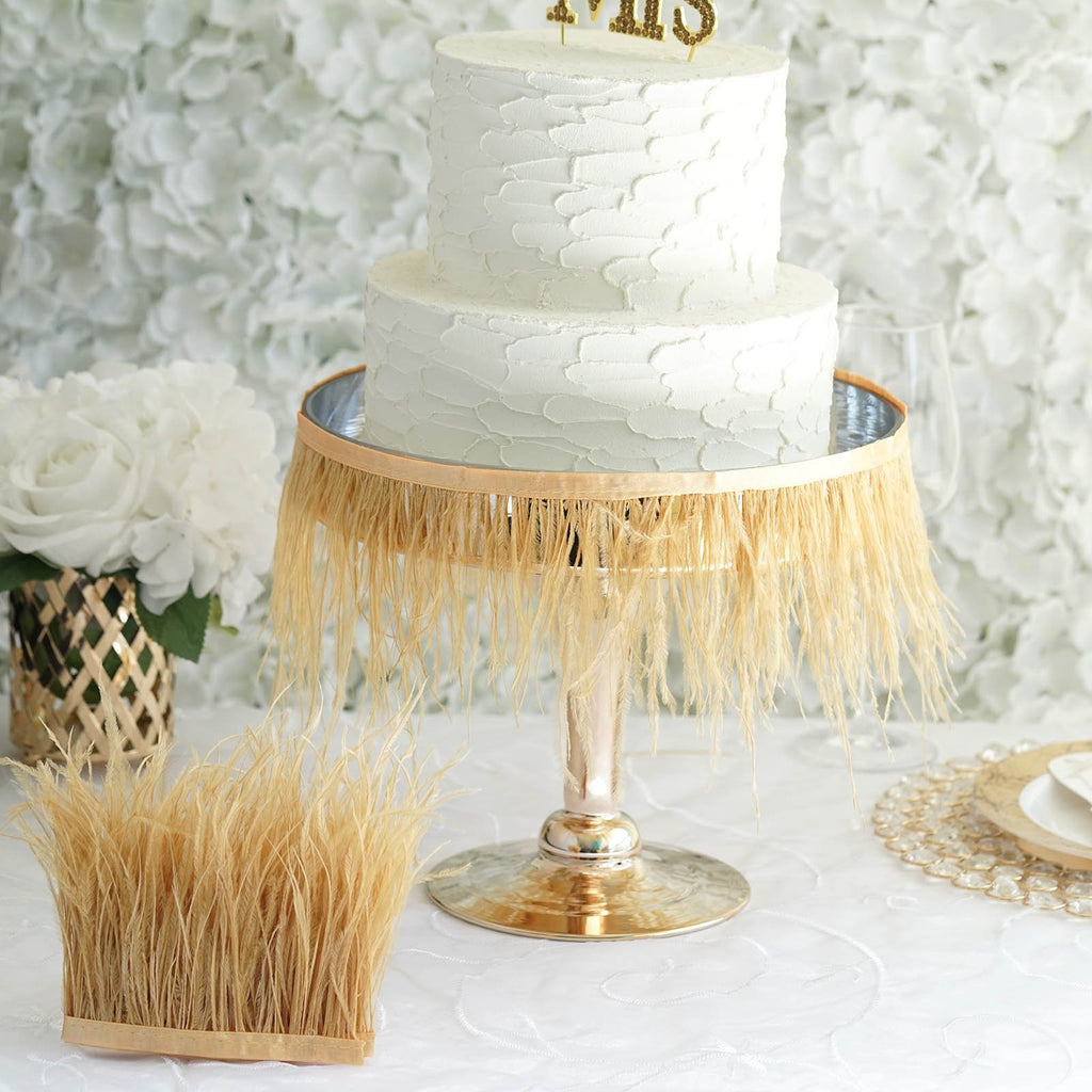 "39"" Gold Real Ostrich Feather Trims With Satin Ribbon Tape"