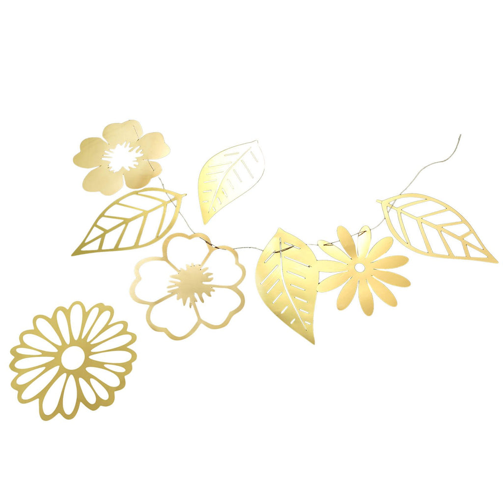 7 ft | Gold Foiled Paper Large Flowers & Leaves Hanging Garland