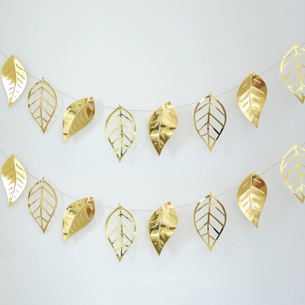 7 ft | Gold Foiled Paper Large Leaves Hanging Garland