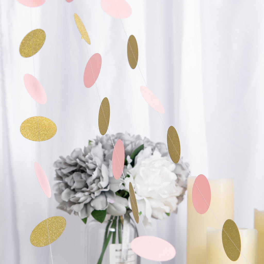 "Set of 3 - 90"" Long Circle Dot Party Paper Garland 