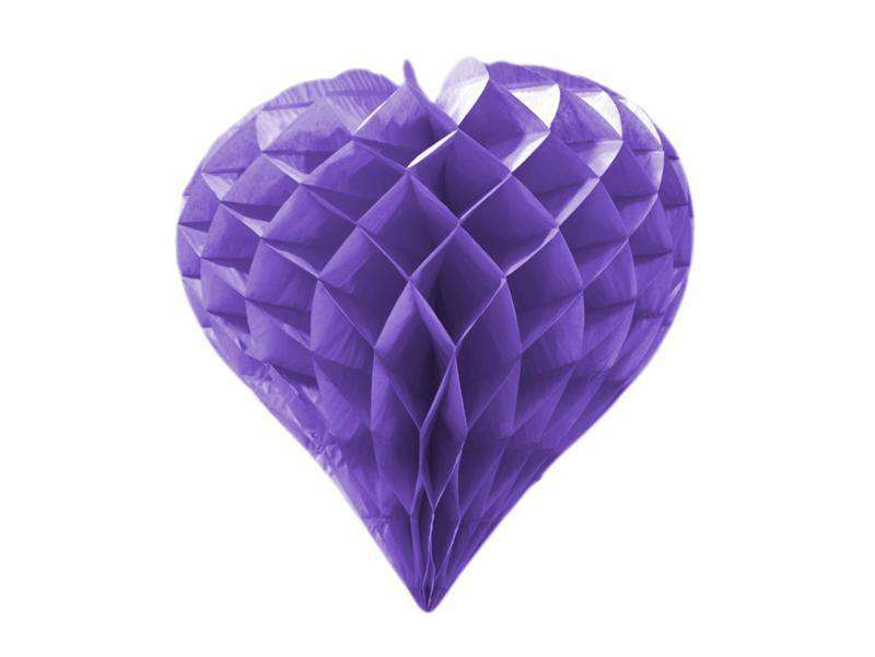"16"" Heart-Shaped Honeycomb Paper Lantern 12pk - Purple"