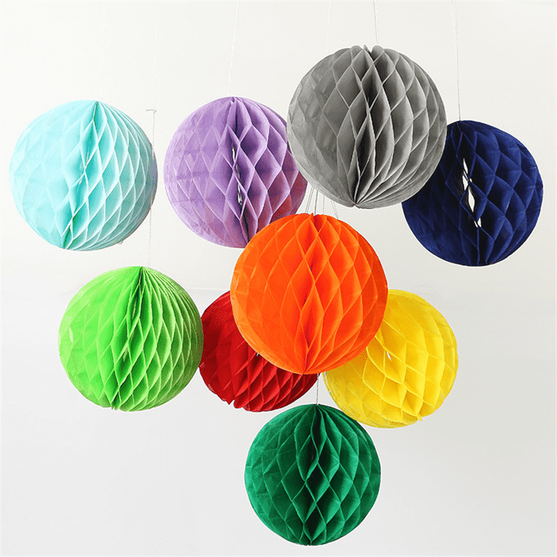 "12 Pack 16"" White Round Paper Honeycomb Lantern Hanging Decoration"