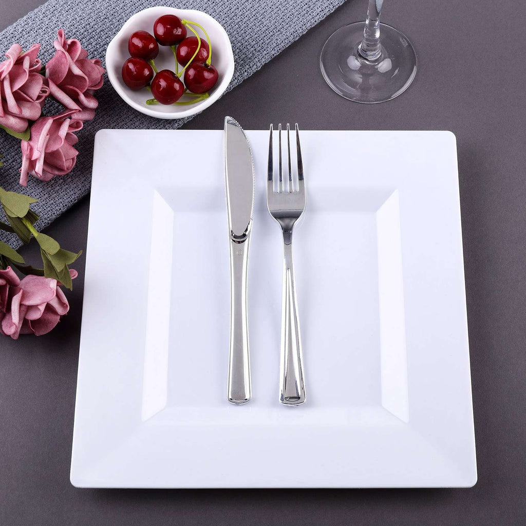 "10 Pack 9"" White Disposable Square Dinner Plates"