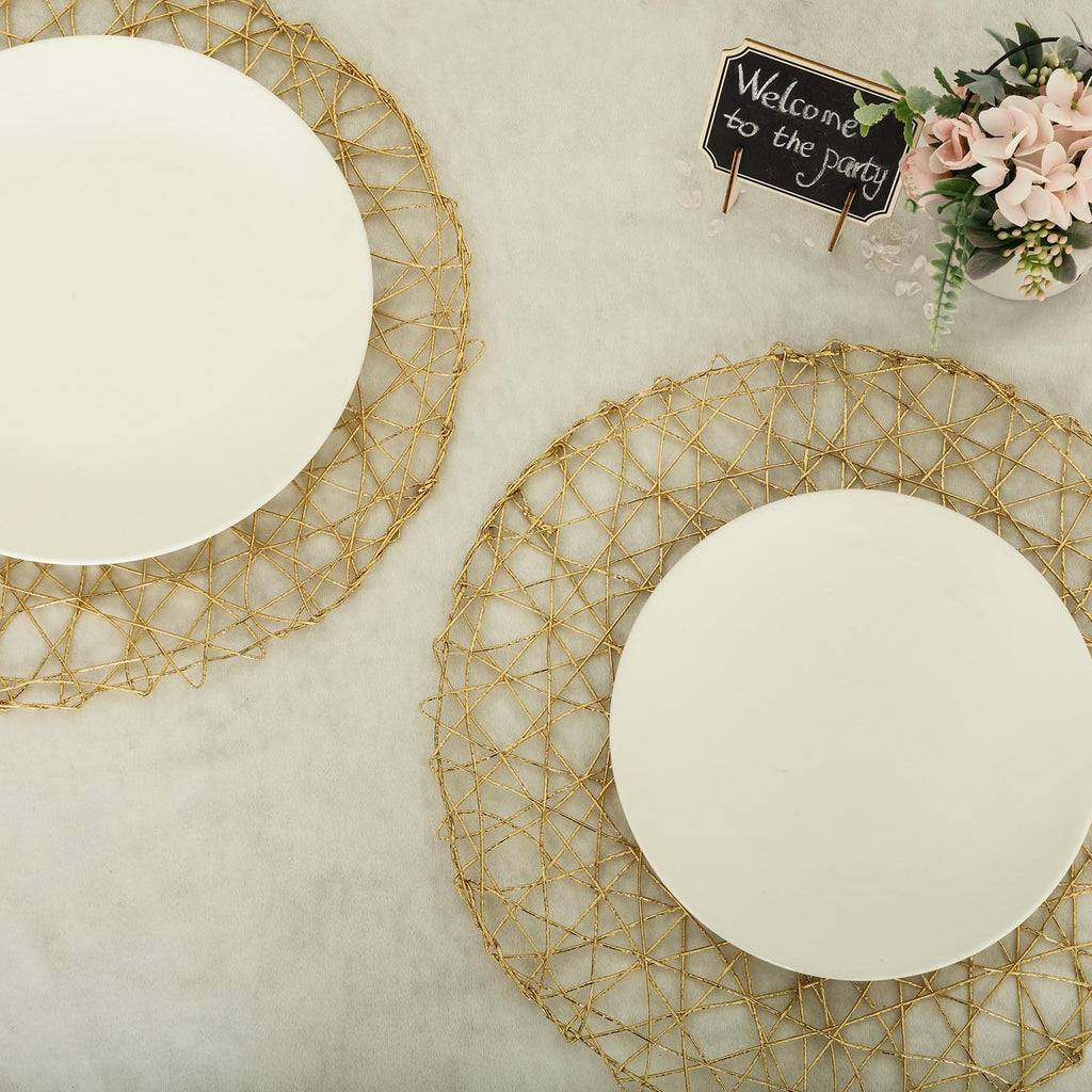 "6 Pack | 15"" Gold Metallic String Round Placemats"