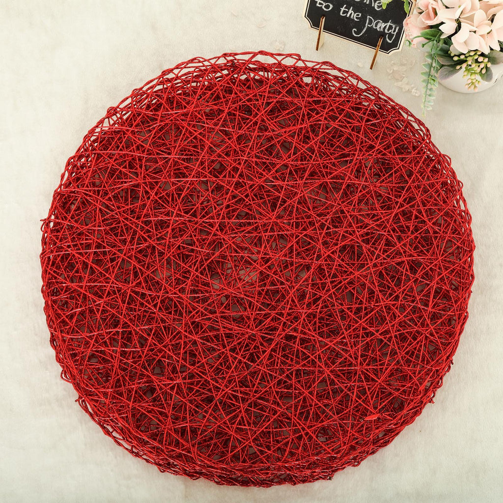 "6 Pack | 15"" Red Metallic String Round Placemats"