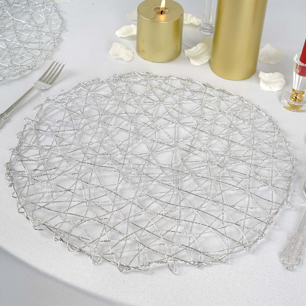 "6 Pack | 15"" Silver Metallic String Round Placemats"