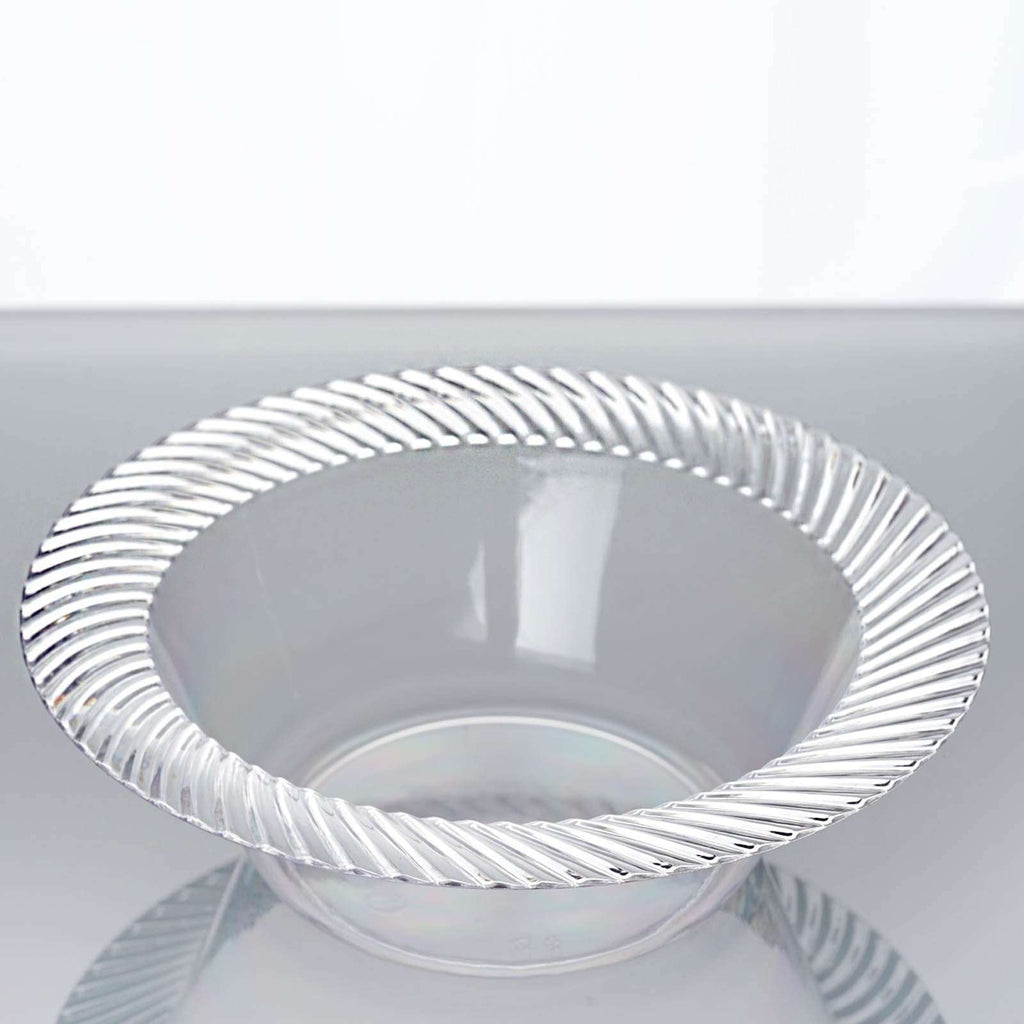 10 Pack 6oz Clear Twirl Plastic Round Disposable Bowl