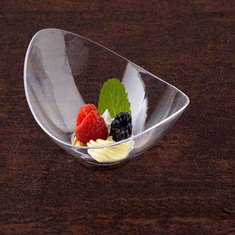 24 Pack 1oz Clear Tiny Wonders Plastic Oval Disposable Tasting Bowl