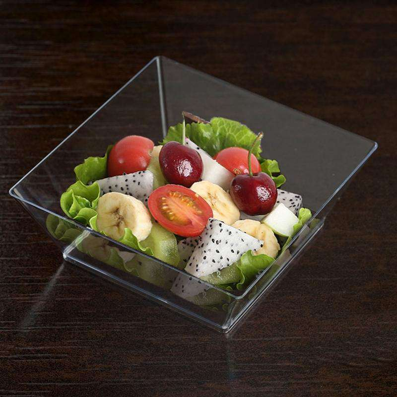 12 Pack 10oz Clear Innovative Plastic Square Disposable Bowl