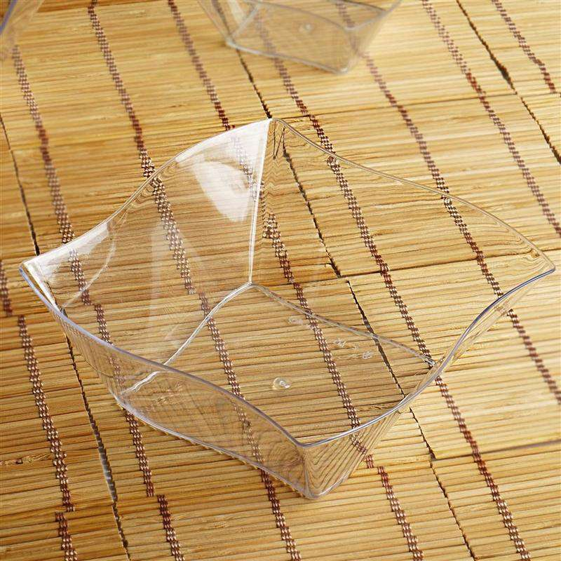 12-Pack Clear Wave Design 16 oz. Disposable Plastic Dessert Bowls