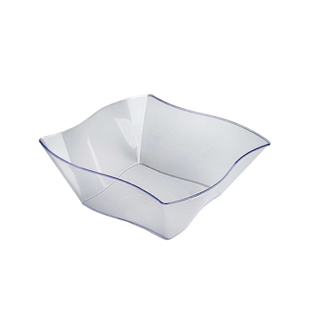 12 Pack 16oz Clear Wave Design Plastic Square Disposable Bowl