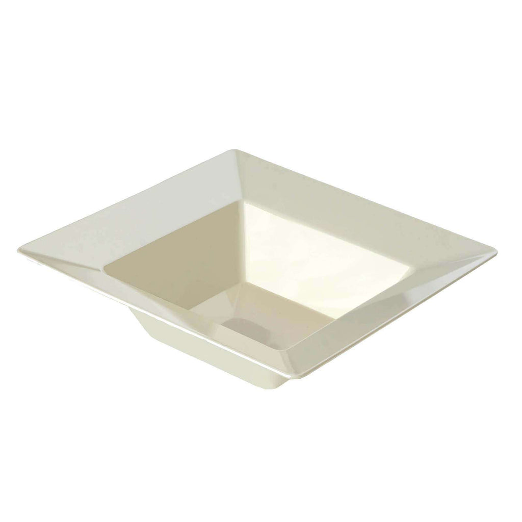 10 Pack 5oz Ivory Chambury Plastic Square Disposable Bowl
