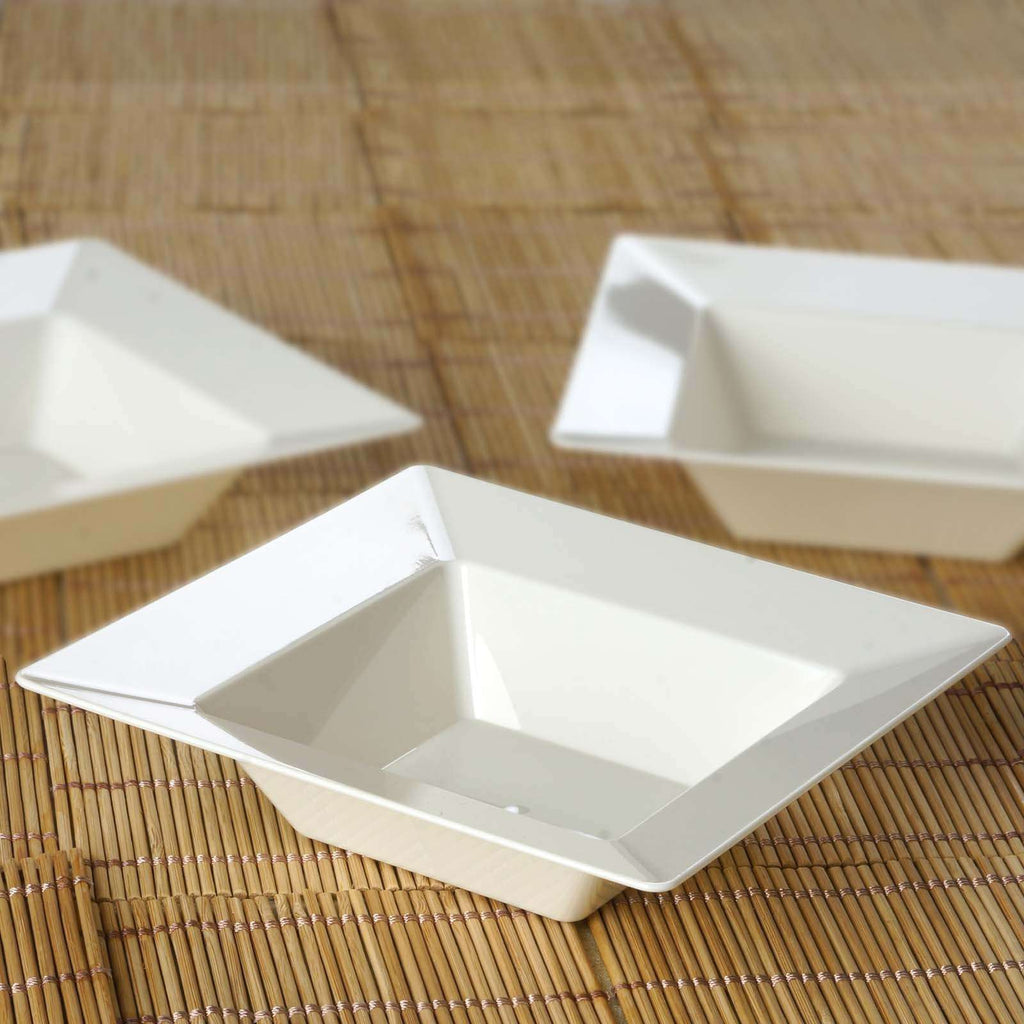 10 Pack - Ivory Square 5oz Disposable Dessert Bowls   - Chambury Plastics