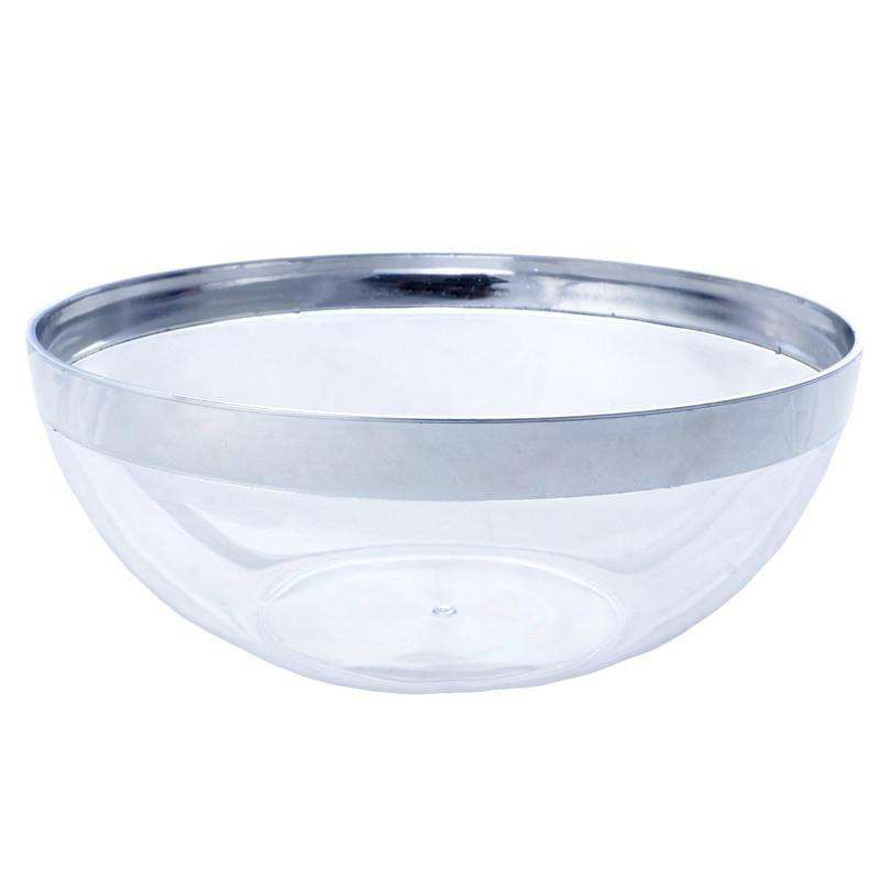 Hard Plastic 32-Ounce ROUND SERVING BOWLS Silver RIM Party Disposable TABLEWARE