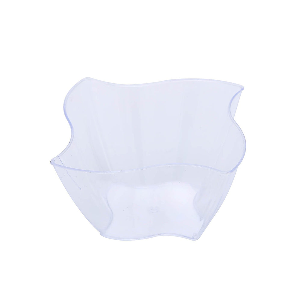 12 Pack 4oz Clear Curved Pinwheel Plastic Square Disposable Bowl