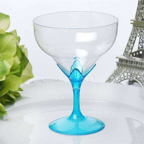6 Pack 5oz Clear with Blue Base Disposable Champagne Wine Goblet