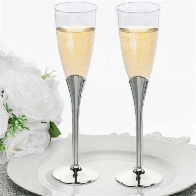 6 Pack 5oz Clear with Silver Base Disposable Champagne Wine Flutes