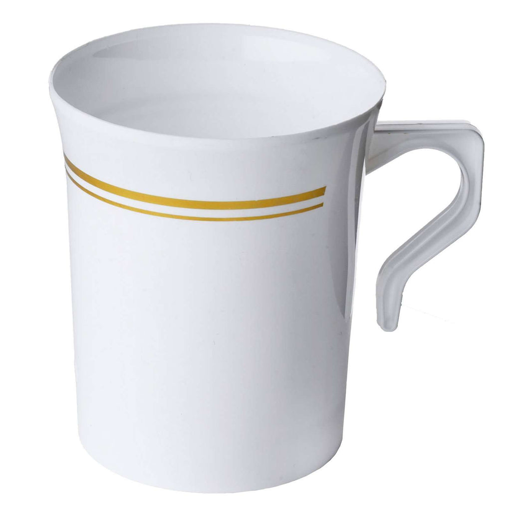 8 Pack 8oz Plastic Disposable White Coffee Cups With Gold Stripes
