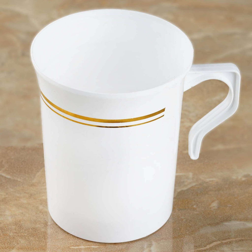 8 Pack - White with Gold 8oz Disposable Coffee Cups - Tres Chic Collection