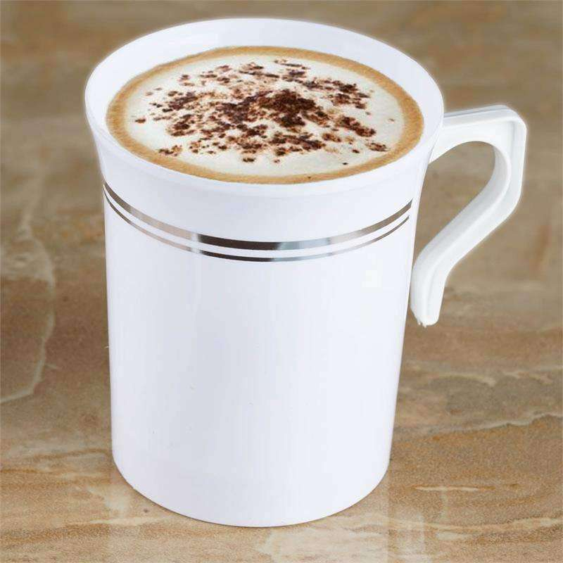 8 Pack 8oz Plastic Disposable White Coffee Cups With Silver Stripes