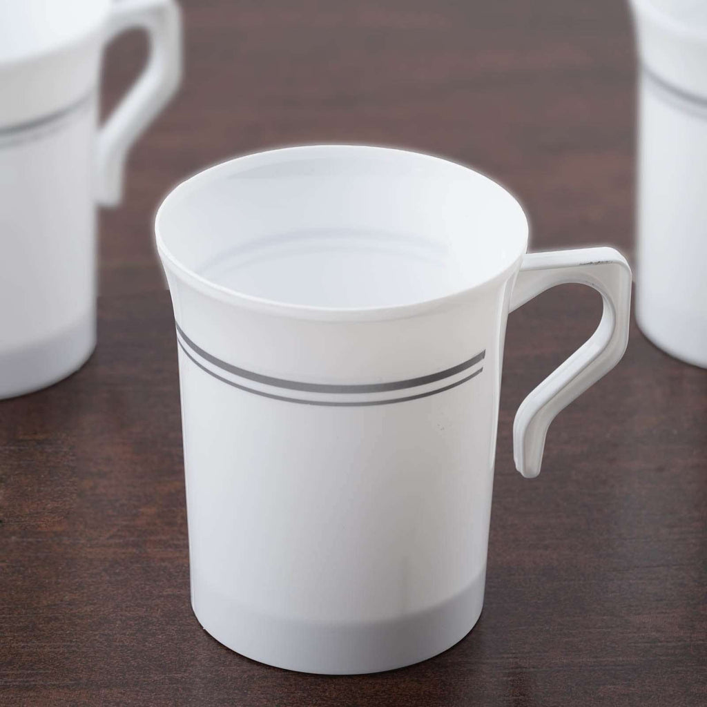 8 Pack - White with Silver 8oz Disposable Coffee Cups - Antique Collection