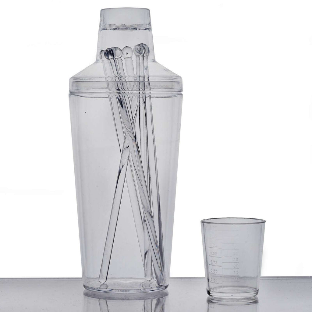 8 Pack Clear Disposable Cocktail Shakers with Stirrers