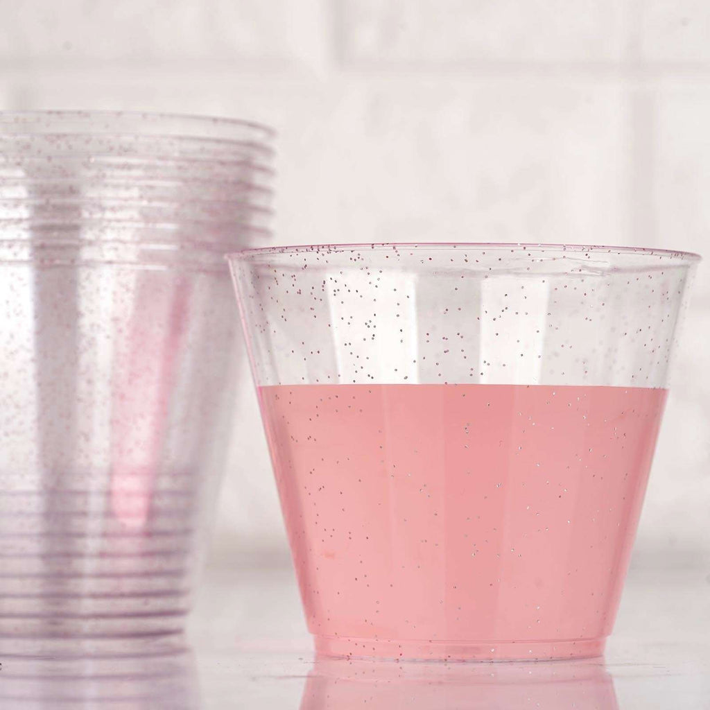 12 Pack 9oz Blush Plastic Disposable Glittered Glass Cups