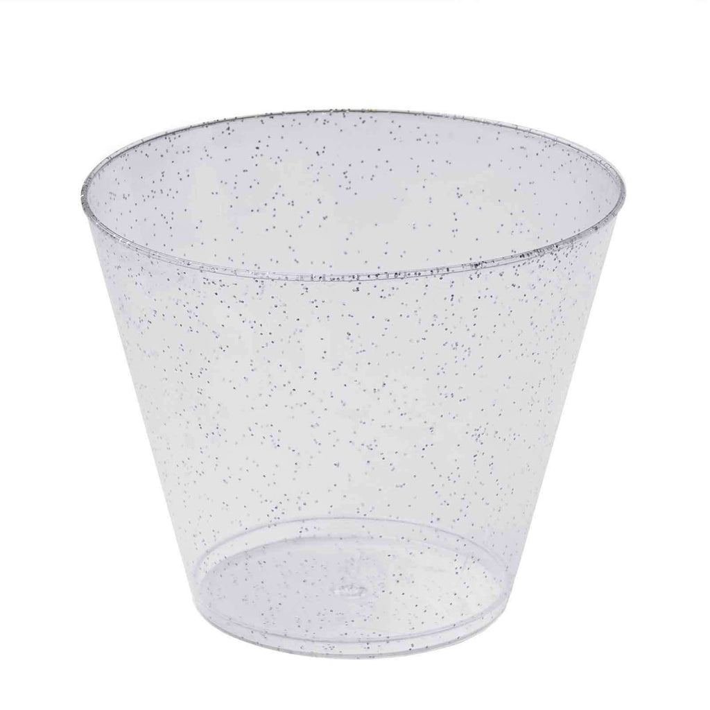 12 Pack 9oz Silver Plastic Disposable Glittered Glass Cups