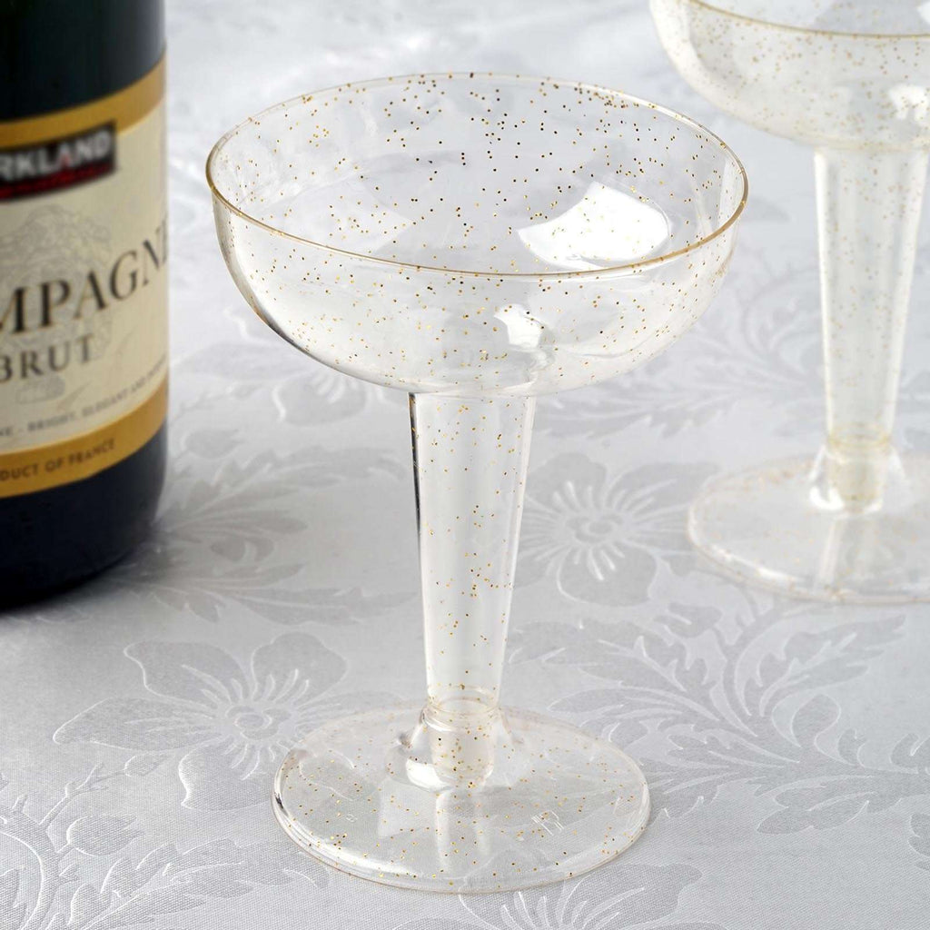 12 Pack 6oz Clear with Gold Glitter Plastic Disposable Champagne Glass